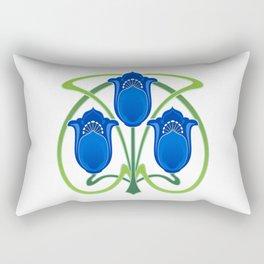 Three Blue Art Nouveau Flowers Rectangular Pillow
