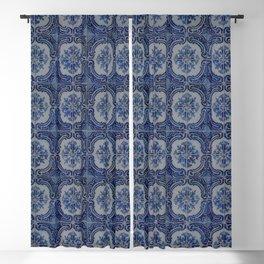 Vintage blue ceramic tiles pattern Blackout Curtain
