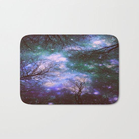 Black Trees Purple Green Space Bath Mat