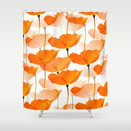 Orange Poppies On A White Background #decor #society6 #buyart Shower Curtain