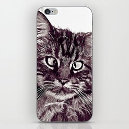 squinting maine coon cat vector art white iPhone Skin