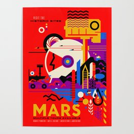 NASA Mars The Red Planet Retro Poster Futuristic Best Quality Poster