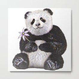 Flower Panda Metal Print