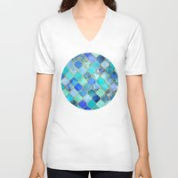 indigo V-neck T-shirts featuring Cobalt Blue, Aqua & Gold Decorative Moroccan Tile Pattern by micklyn