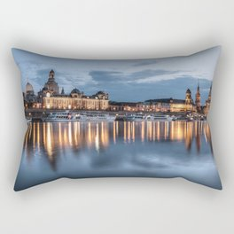 Dresden skyline, City, Germany, Cityscape blue hour Rectangular Pillow