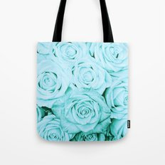 Turquoise roses - flower pattern - Vintage rose on #Society6 Tote Bag