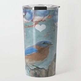 Blue Bird Mom and Her Babies Travel Mug
