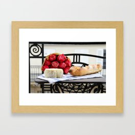 French Baguette and Cheese on a Paris Balcony Framed Art Print