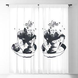 Beautiful coffee mug with forest landscape aristic fashion design Blackout Curtain