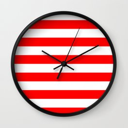 Horizontal red and white stripes Wall Clock