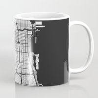 chicago map Mugs featuring Chicago Map Gray by City Art Posters