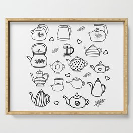 Doodle style teapot collection Serving Tray