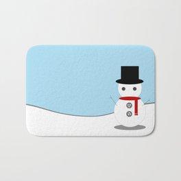 Snow Man With Blue Background Bath Mat