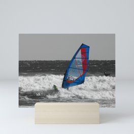 Selective color windsurfer Mini Art Print