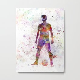 soccer football player young man standing defiance  Metal Print