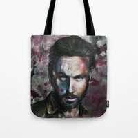 rick grimes Tote Bags featuring Rick Grimes by Jhaiku