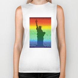 Statue of Liberty rainbow Biker Tank