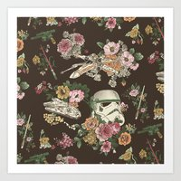 patterns Art Prints featuring Botanic Wars by Josh Ln