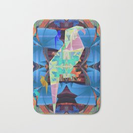 Origami Parrot Butterfly Tribal Tropical Floral Bath Mat