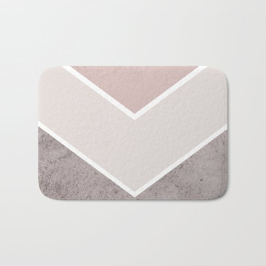 DARK BLUSH GRAY CONCRETE CHEVRON Bath Mat
