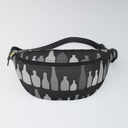 Bottles Black and White on Black Fanny Pack