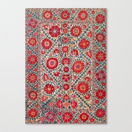 Kermina Suzani Uzbekistan Embroidery Print Canvas Print