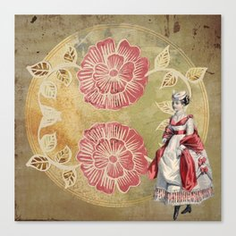 Victorian | Aesthetic | Two Flowers | Lady | Pink | Vintage Canvas Print
