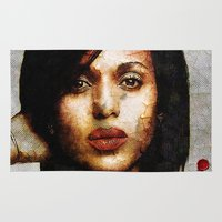 scandal Area & Throw Rugs featuring Portrait of Kerry Washington by André Joseph Martin