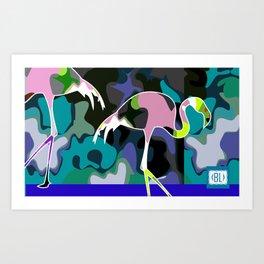 camuflage flamingo blue Art Print