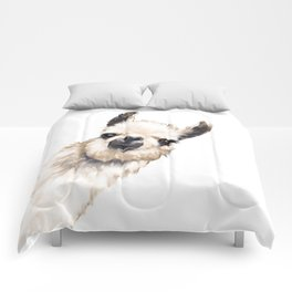 Sneaky Llama White Comforters