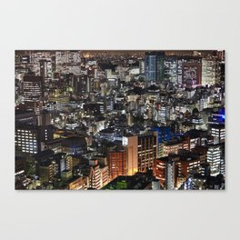 Tokyo Buildings at Night Canvas Print
