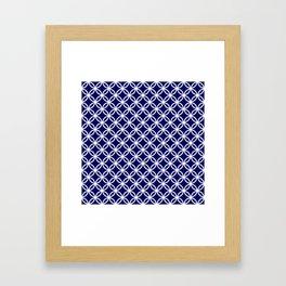 Dark blue and white interlocking circles Framed Art Print