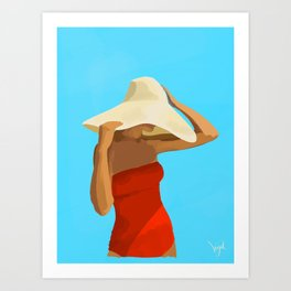 At The Beach: Red Suit Art Print