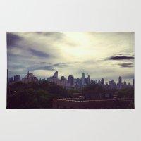manhattan Area & Throw Rugs featuring Manhattan  by Claire Beaufort