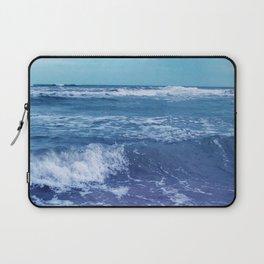 Blue Atlantic Ocean White Cap Waves Clouds in Sky Photograph Laptop Sleeve
