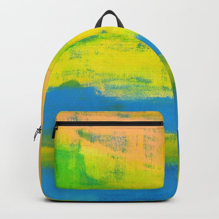'A Sunny Day' Yellow Coral Blue Abstract Art Backpack