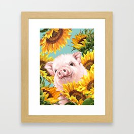 Baby Pig with Sunflowers in Blue Framed Art Print
