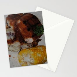 Barbecue Chicken and Corn Stationery Cards