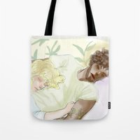 les mis Tote Bags featuring Sleeping ExR Les Mis by Pruoviare