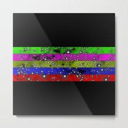 Stars N Stripes - Starry pattern in block colour stripes Metal Print