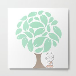 Little Buddha meditating under a tree Metal Print