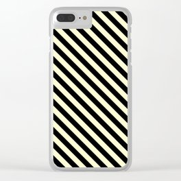 Cream Yellow and Black Diagonal LTR Stripes Clear iPhone Case
