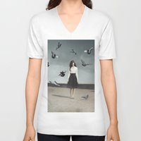 fear V-neck T-shirts featuring Fear by Jovana Rikalo