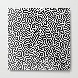 Black and White Organic MAZE Pattern Metal Print