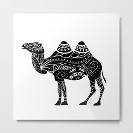 camel silhouette with tribal ornaments Metal Print