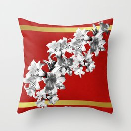 Lilies, Lily Flowers on Red Throw Pillow