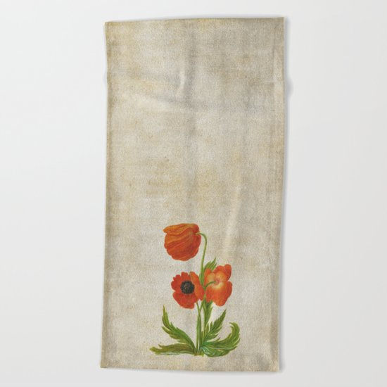 Vintage painting- Bunch of poppies Beach Towel