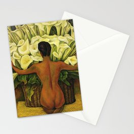 Nude with Calla Lilies by Deigo Rivera Stationery Cards