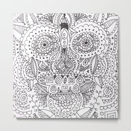 Skull Doodle Metal Print
