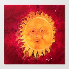 Digital painting of a chubby sun with a funny face Canvas Print